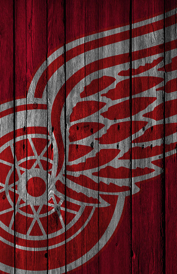 Red Wings Painting - Detroit Red Wings Wood Fence by Joe Hamilton