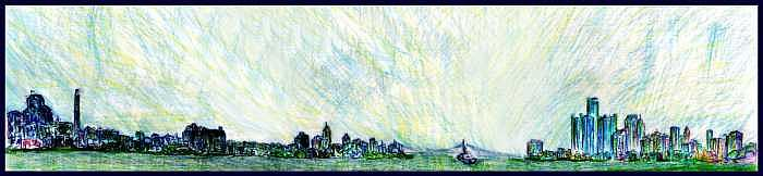 Detroit River Skyline Drawing by Don Thibodeaux
