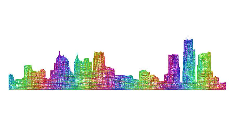 Detroit Digital Art - Detroit Skyline by David Zydd