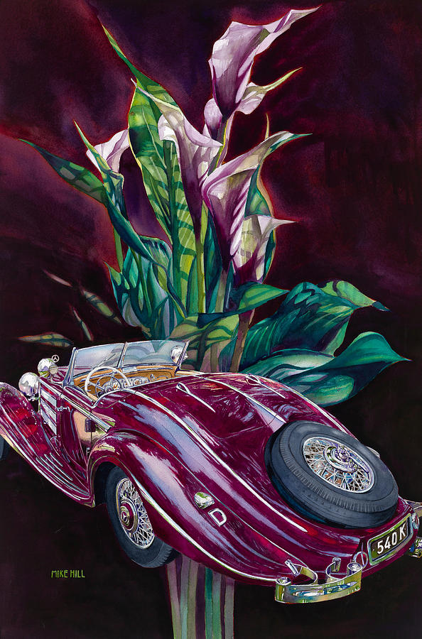 Mercedes Roadster 540k Lilies 1937 Deco Car Automobile Art Mercedes Benz Mercedes Lilies Mercedes Benz Germany Over All Deutschland Uber Alles Autobahn National Socialist Auto Design Classic Depression Pre-war Painting - Deutschland Uber Lilies by Mike Hill