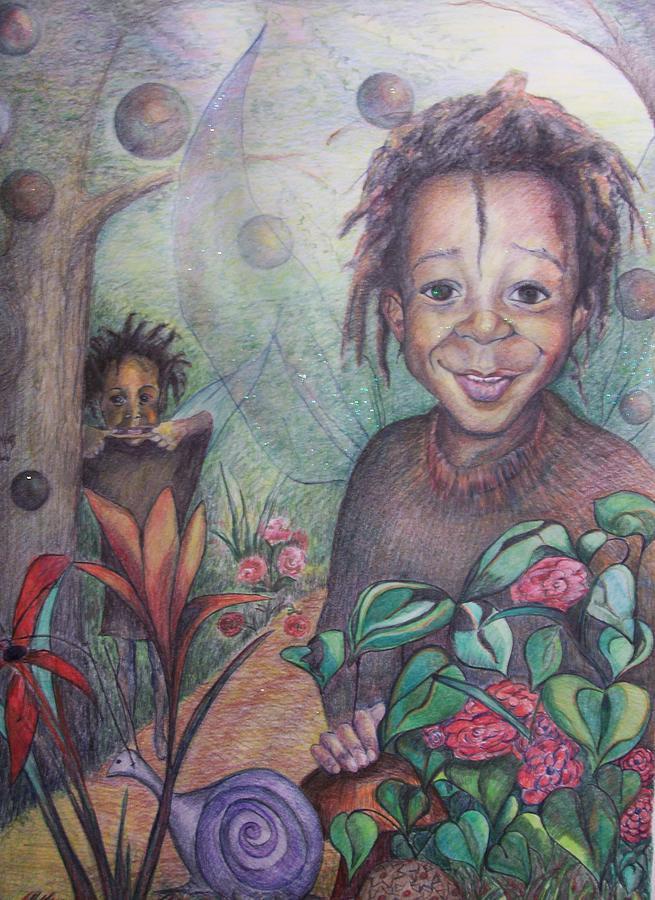 Portrait Drawing - Devens World by Joyce McEwen Crawford