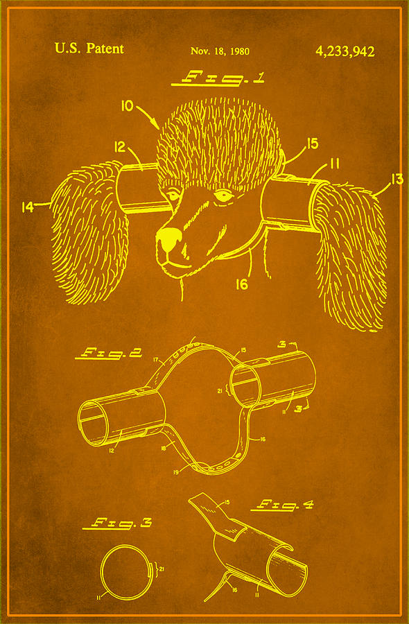 Patent Mixed Media - Device For Protecting Animal Ears Patent Drawing 1c by Brian Reaves