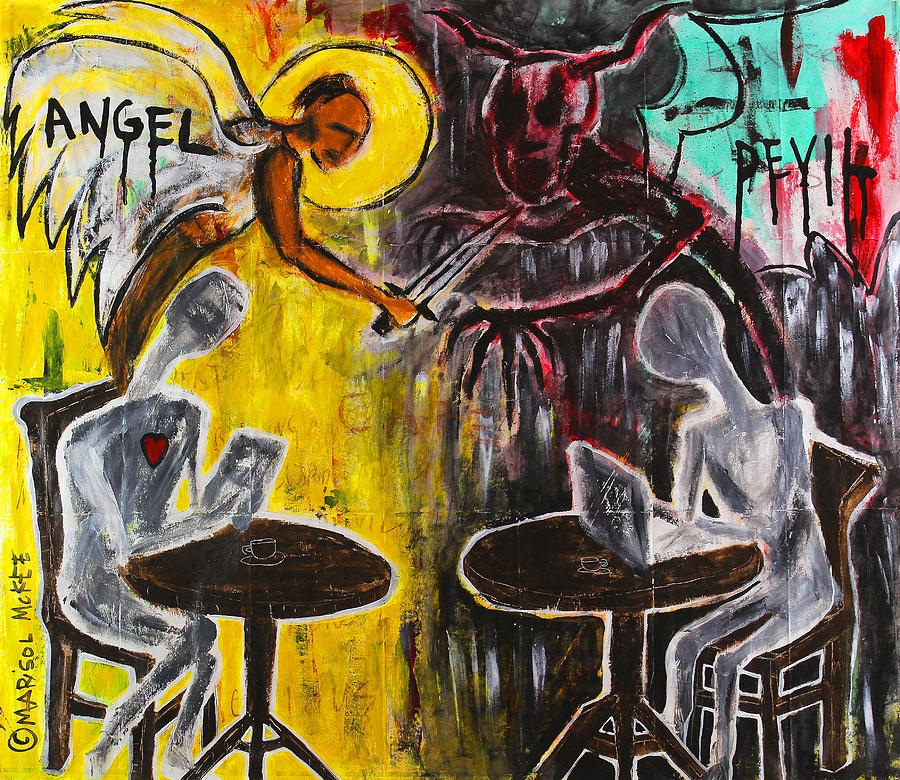 Devil Painting - Devil In The Cafe by Marisol McKee