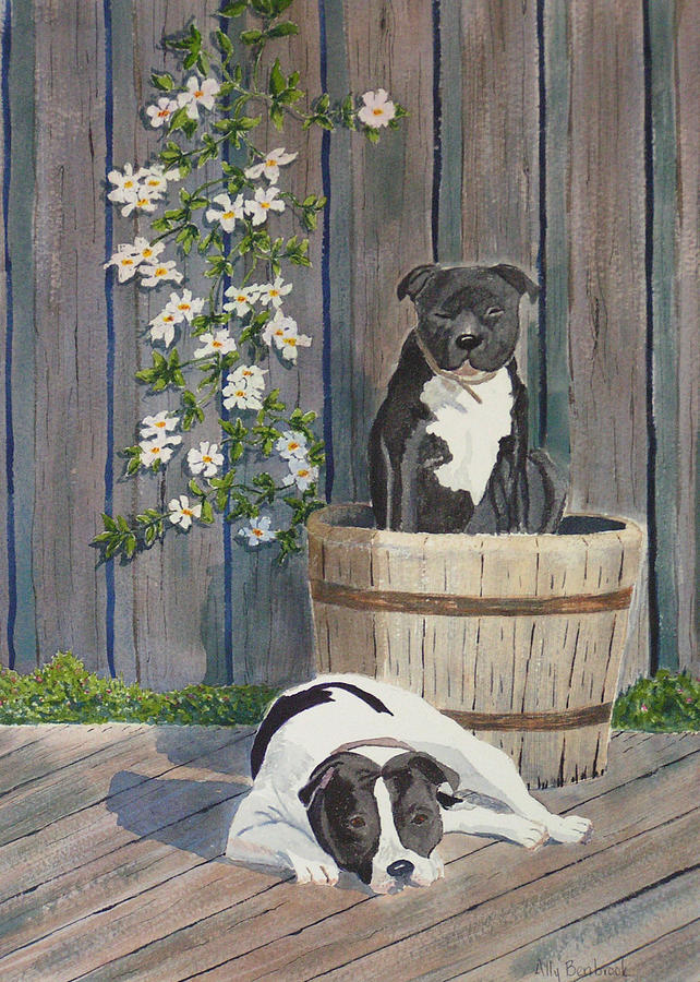 Dog Painting - Devilish Duo At Rest by Ally Benbrook