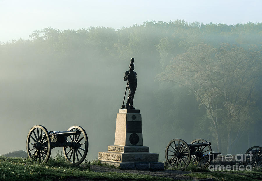 Adams County Photograph - Devils Den Monument At Gettysburg by John Greim