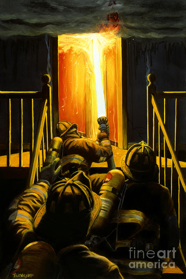 Firefighting Painting - Devils Stairway by Paul Walsh