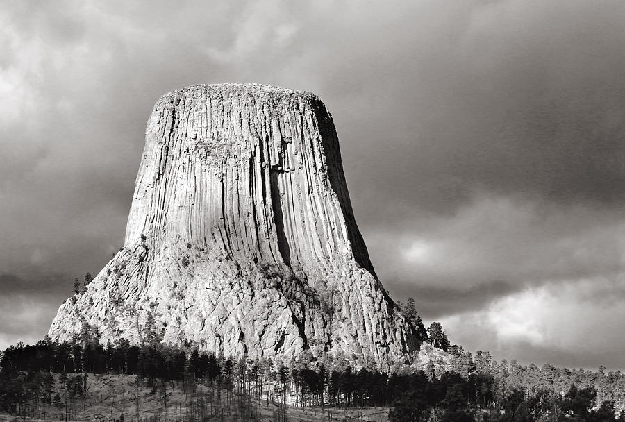 Devil's Tower Black and White by Nicholas Blackwell