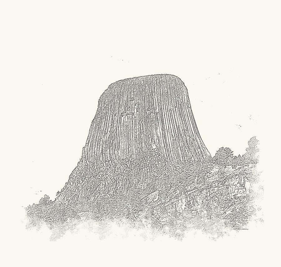 Landscape Photograph - Devils Tower Vignette by John M Bailey