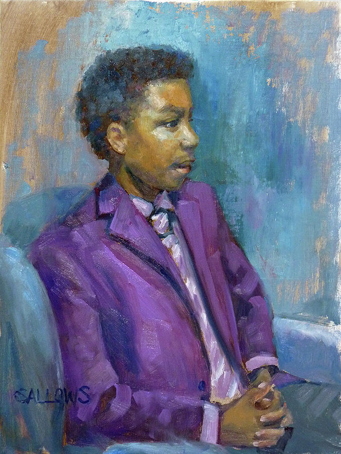 Purple Painting - Devin by Nora Sallows