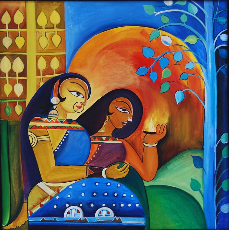 Tradition Painting - Devotees by Harpreet Arora