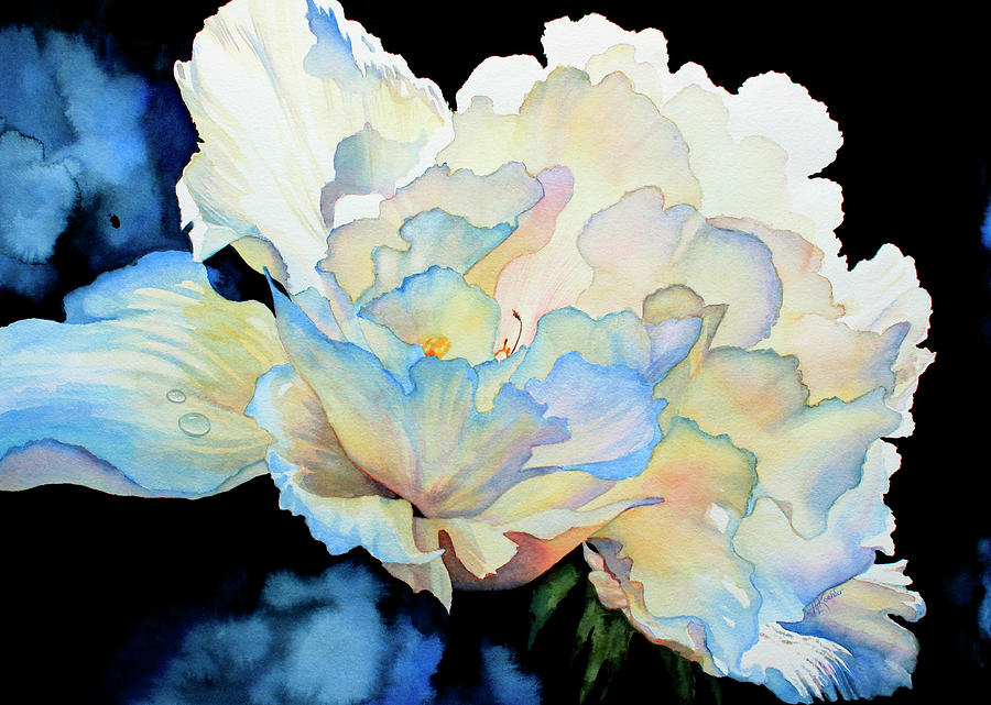 Peony Painting - Dew Drops On Peony by Hanne Lore Koehler