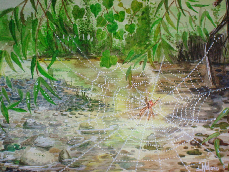 River Painting - Dew on the the nile by Jorge Luis  Iniguez
