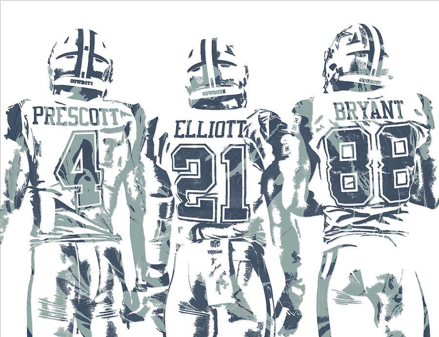 Cowboys Mixed Media - Dez Bryant Ezekiel Elliott Dak Prescott Dallas Cowboys Pixel Art by Joe Hamilton