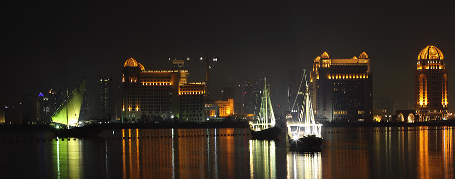 Doha Photograph - Dhows In West Bay Doha by Paul Cowan