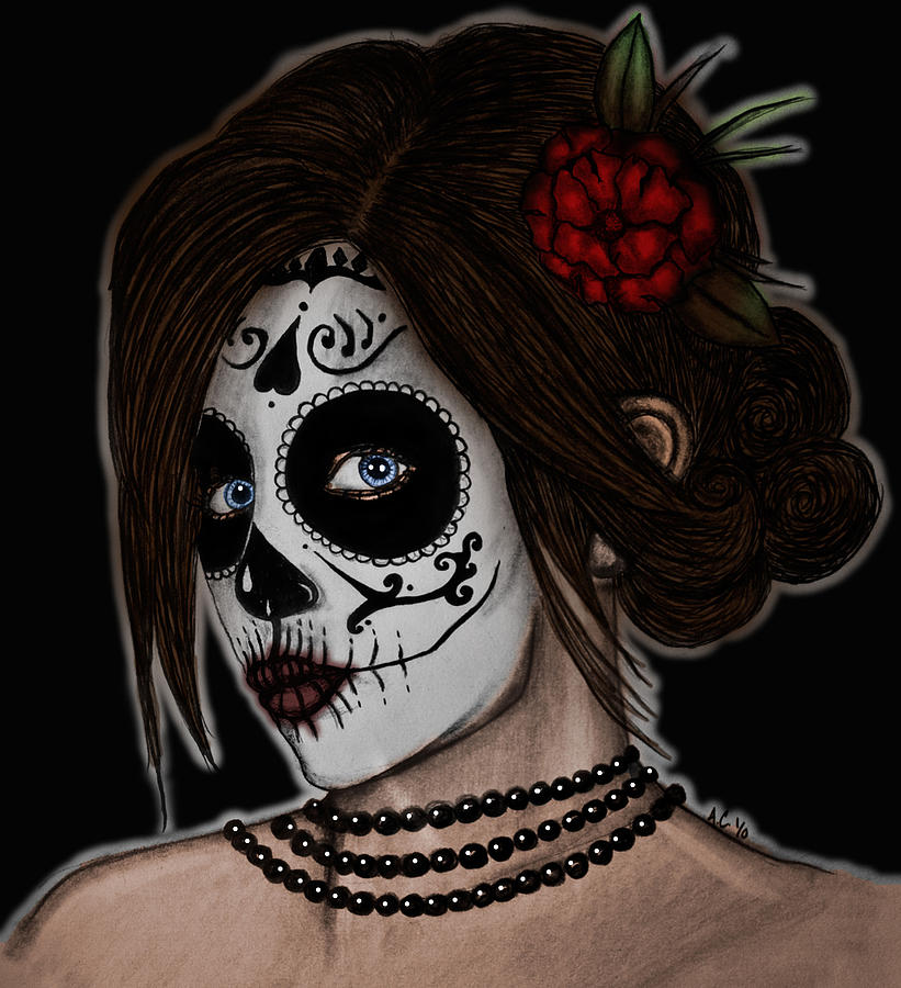 Day Of The Dead Drawing - Dia De Los Meurtos by Angela Conway