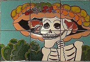 Old  Mexico Ceramic Art - Dia De Los Muertos by Yana Yatsyk