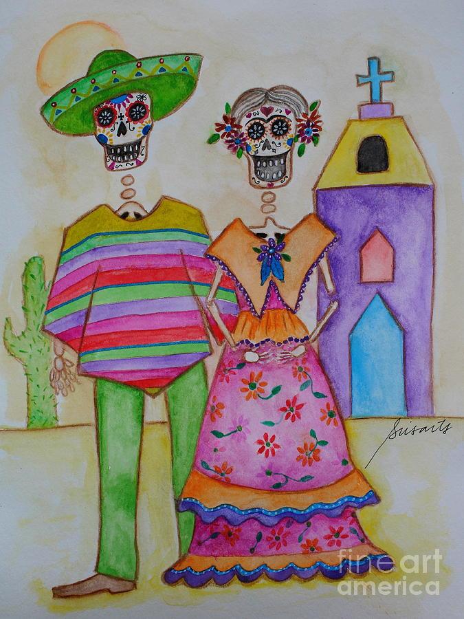 Frida Painting - Dia De Los Muertos Mexican Couple Diego And Frida by Pristine Cartera Turkus