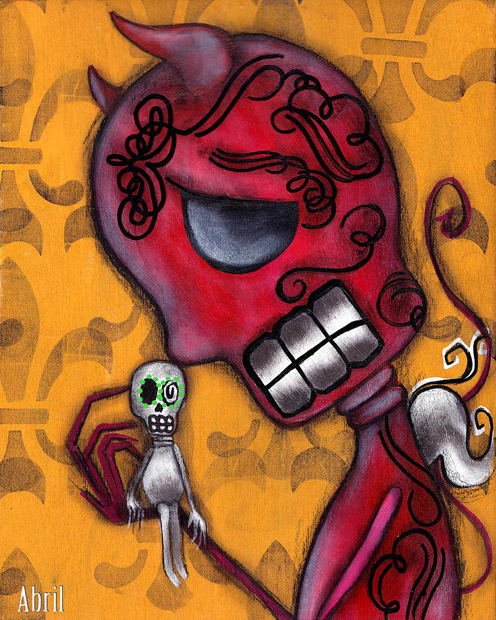 Day Of The Dead Painting - Diablito by  Abril Andrade Griffith