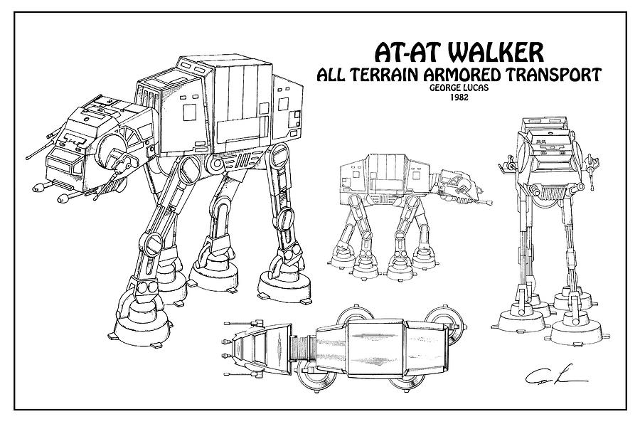 Diagram Illustration For The At At Walker All Terrain Armored