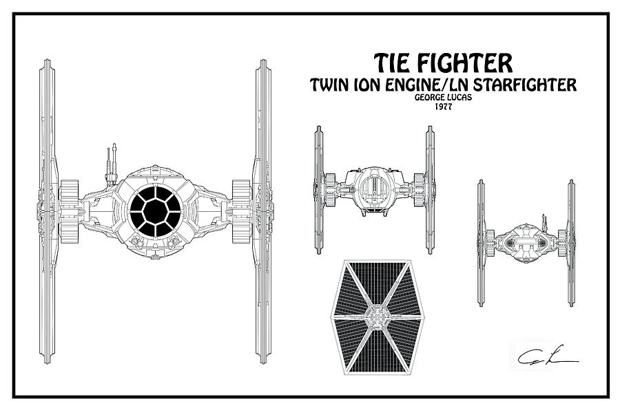 Diagram Illustration For The Tie Fighter From Star Wars