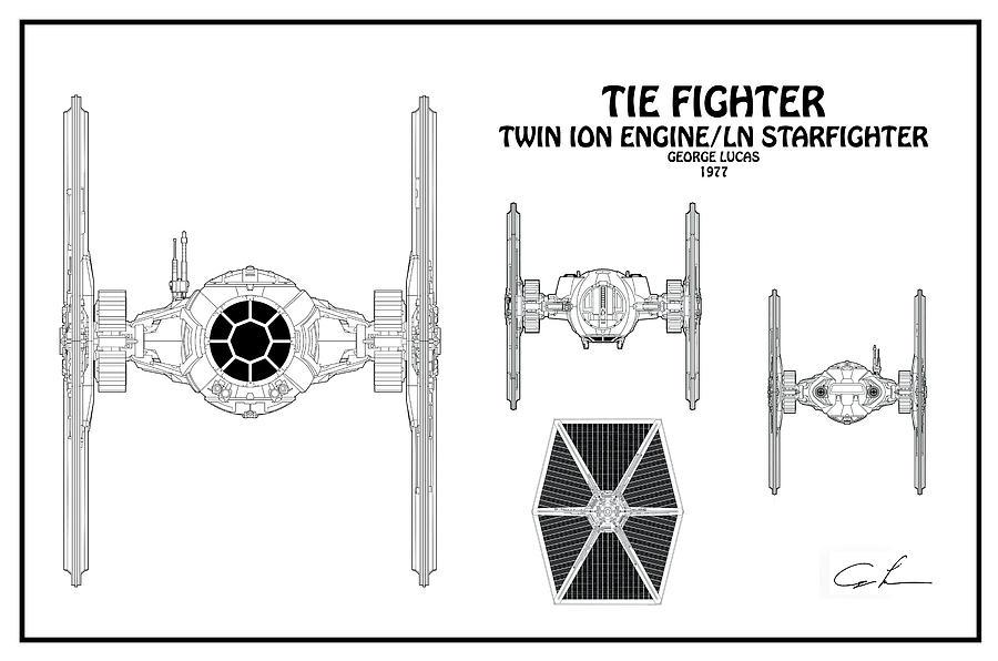 Diagram Illustration For The Tie Fighter From Star Wars Digital Art