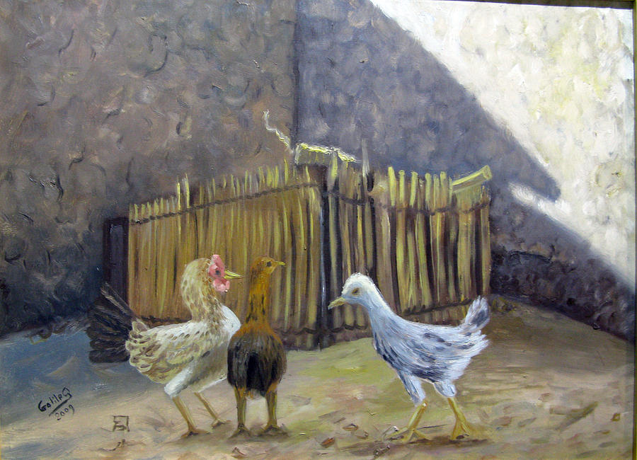 Landscape Painting - Dialogue Chicken by Galileo Art