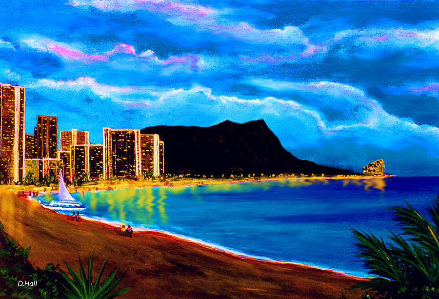 Diamond Head Painting - Diamond Head And Waikiki Beach By Night #92 by Donald k Hall
