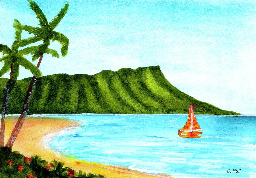 Diamond Head Painting - Diamond Head And Waikiki Beach Canoe #334 by Donald k Hall