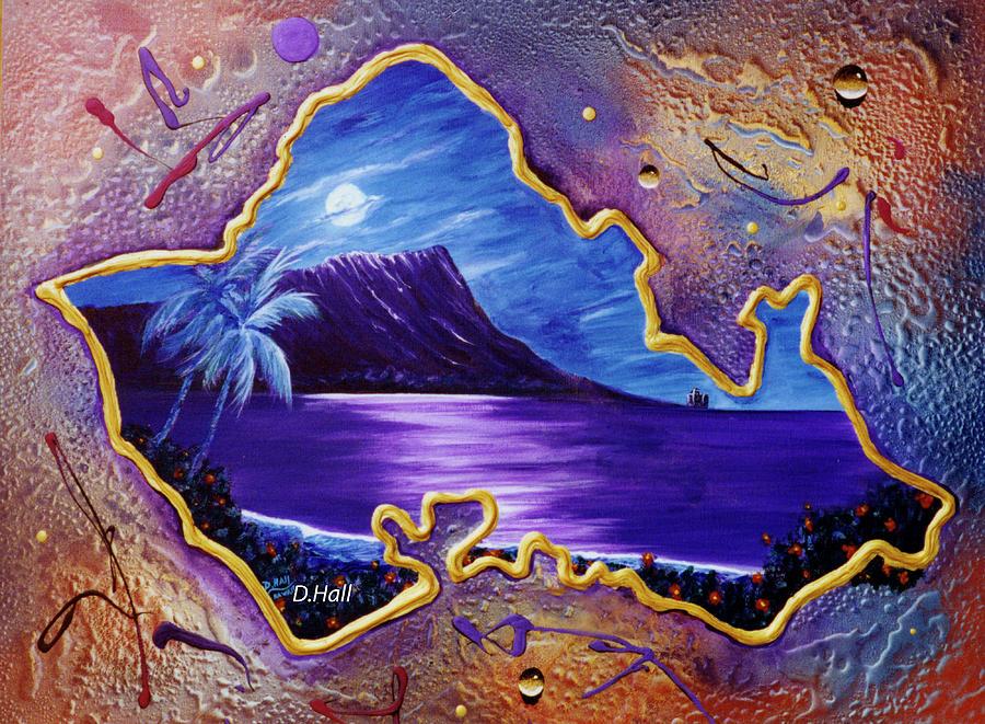 Print Painting - Diamond Head Moon Oahu #141 by Donald k Hall