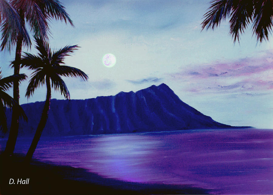 Diamond Head Painting - Diamond Head Moon Waikiki #34 by Donald k Hall