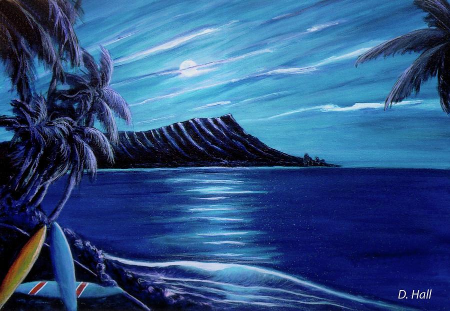 Diamond Head Painting - Diamond Head Moon Waikiki Beach #288 by Donald k Hall