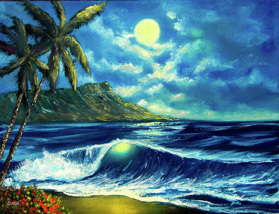 Diamond Head Painting - Diamond Head Moon Waikiki Beach #407 by Donald k Hall