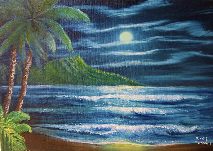 Diamond Head Painting - Diamond Head Moon Waikiki Beach  #409 by Donald k Hall
