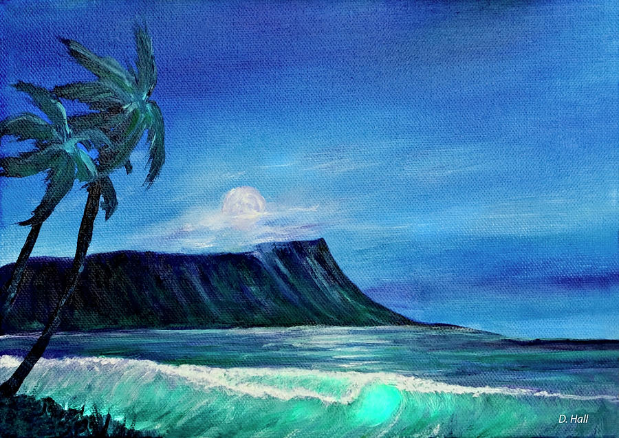 Diamond Head Painting - Diamond Head Moonscape #371 by Donald k Hall