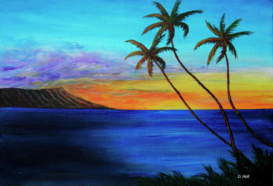 Hawaii Sunset Painting - Diamond Head Sunrise #327 by Donald k Hall