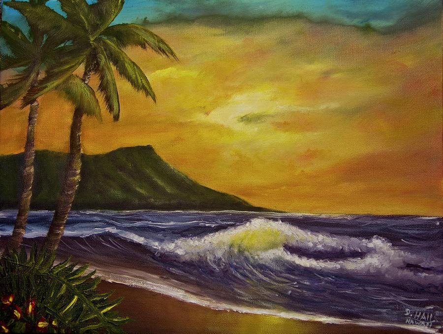 Waikiki Painting - Diamond Head Sunrise Oahu #414 by Donald k Hall