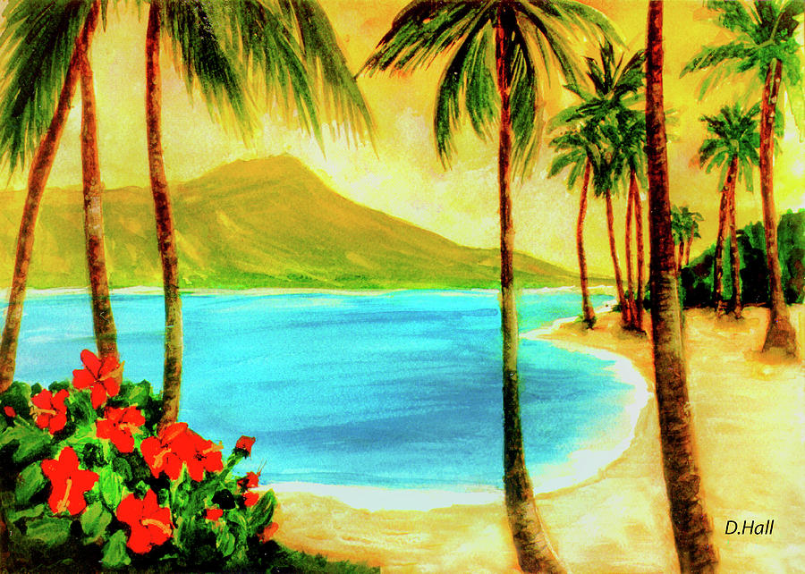 Diamond Head Painting - Diamond Head Waikiki Beach #127 by Donald k Hall