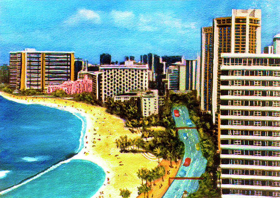 Waikiki Painting - Diamond Head Waikiki Beach Kalakaua Avenue #94 by Donald k Hall
