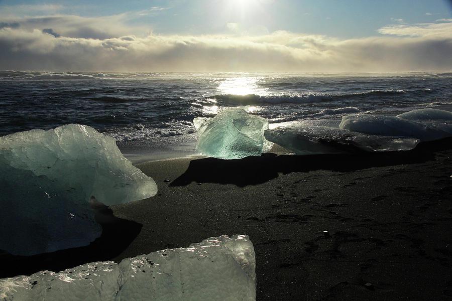 Diamond on Diamond Beach Black Sand Waves Clouds Iceland 2 2162018 1982.jpg by David Frederick