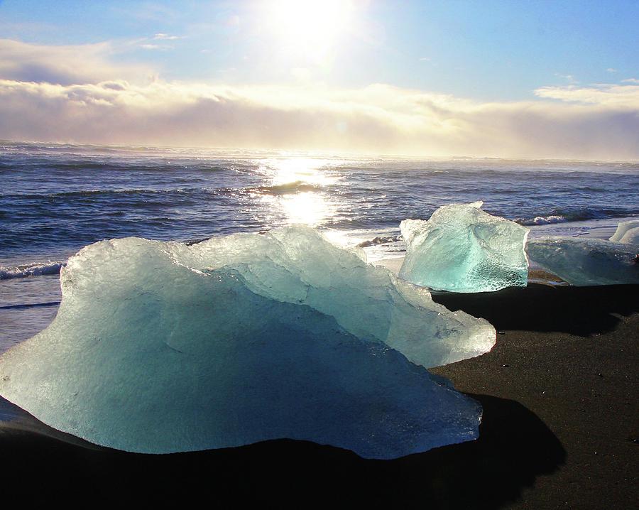 Diamond On Diamond Beach Black Sand Waves Clouds Near Sunset Iceland 2 2162018 1978.jpg Photograph by David Frederick