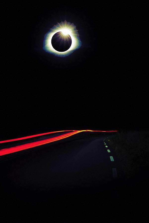 Nature Painting - Diamond Ring Solar Eclips Over Route 66 By Adam Asar 2 by Adam Asar