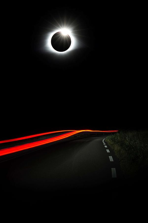 Sun Painting - Diamond Ring Solar Eclips Over Route 66 By Adam Asar by Adam Asar