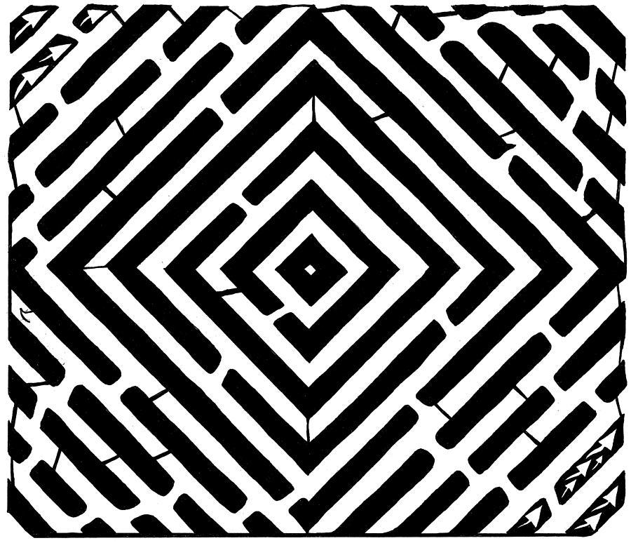 Optical Illusion Drawing - Diamond Shaped Optical Illusion Maze by Yonatan Frimer Maze Artist