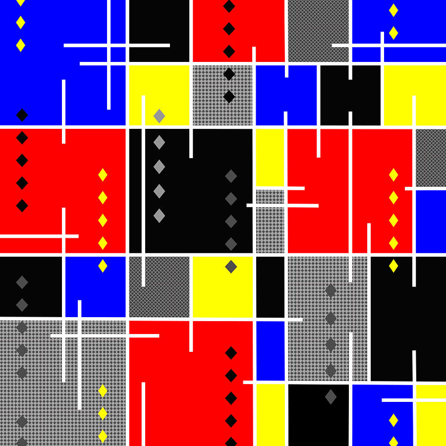 De Stijl Digital Art - Diamonds And De Stijl by Tara Hutton