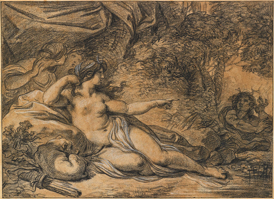 Diana And Actaeon Drawing - Diana And Actaeon by Francois-Andre Vincent