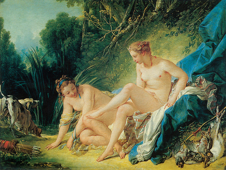Francois Boucher Painting - Diana Bathing by Francois Boucher