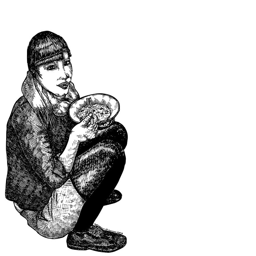 Drawing Drawing - Diana Eating by Karl Addison
