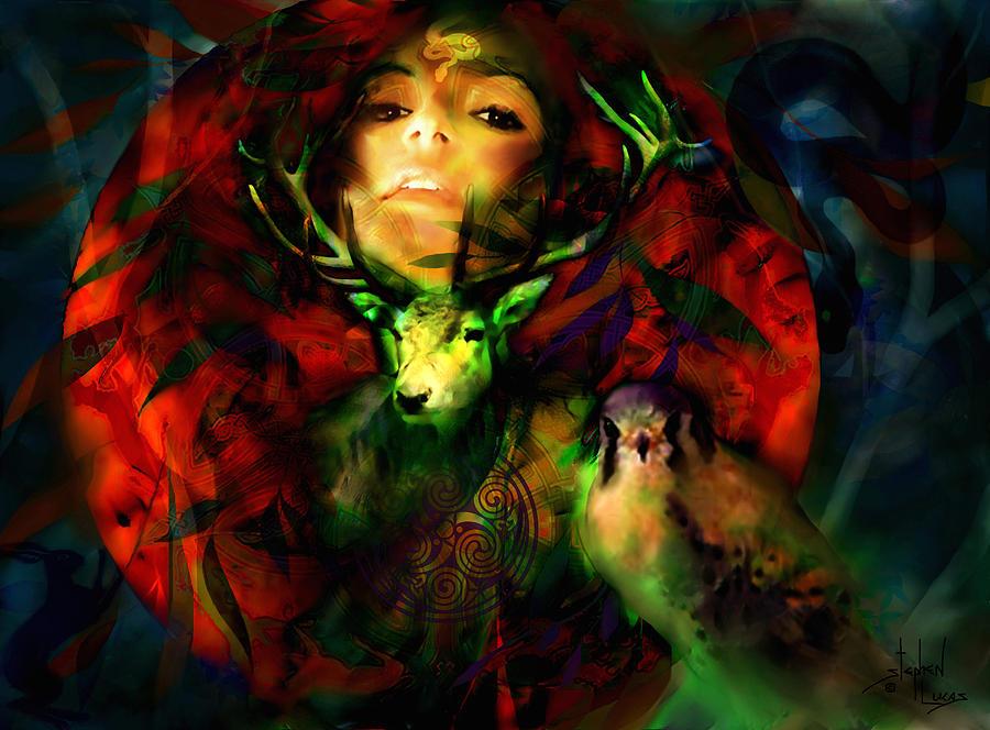 Spiritual Digital Art - Dianas Blood Moon by Stephen Lucas