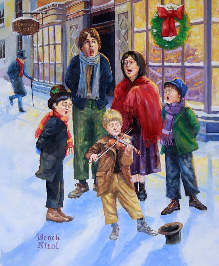 Dickens Era Christmas Carolers Wood Standups Woodworking: Dickens Christmas Caroling Painting By Brock Nicol