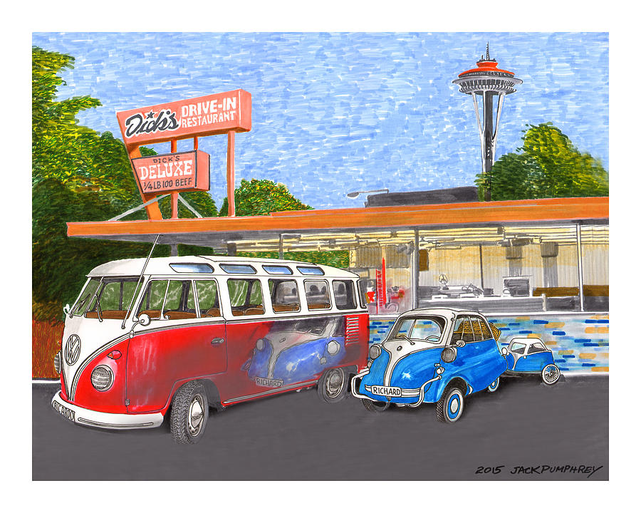 Space Needle Painting - Dicks Drive In Seattle by Jack Pumphrey